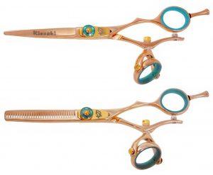 Gokatana 5.5″ & Kanagawa 30t Hair Scissors Double Swivel Rose Gold B Titanium Set